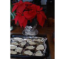 A Special Chirstmas Treat: Oysters with a creme with blue cheese - Algo especial para Navidad: Ostiones con una crema con queso Gorgonzola  Photographic Print