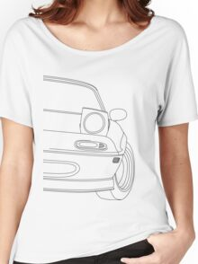 miata outline - black Women's Relaxed Fit T-Shirt