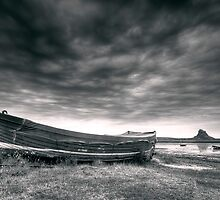 Blue Boat and Lindisfarne Castle by mattcattell