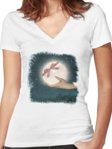 For You, The Moon Women's Fitted V-Neck T-Shirt