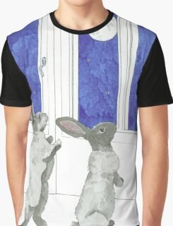 Daily Doodle 4-SPACE- Rabbit Moon Graphic T-Shirt