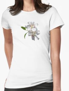 Two White Lilies Womens Fitted T-Shirt