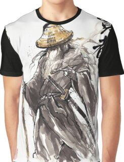 Gandalf Samurai with Sumi ink and watercolor Japanese Calligraphy Magus Graphic T-Shirt