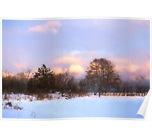 Watercolor Winter - Colorful Day on the Lake Poster
