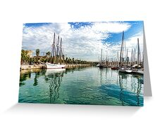 Yachts and Palm Trees - Impressions of Barcelona  Greeting Card