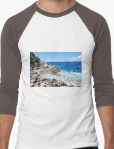 Lakka coastline, Paxos Men's Baseball ¾ T-Shirt