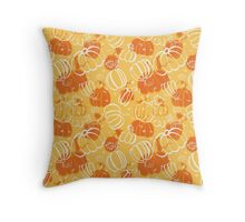 Orange pattern with pumpkins Throw Pillow