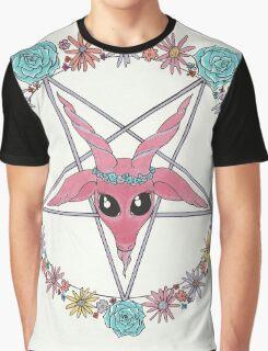 flowery Baphomet Graphic T-Shirt