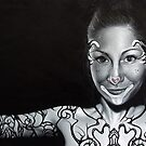 Orignal realistic portrait / figurative  painting of a woman with body art and tattoos by Brent Schreiber