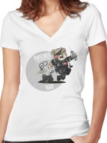 PATCHES (Black) Women's Fitted V-Neck T-Shirt