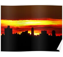 Sundown with a heavy layer of clouds, NYC Poster