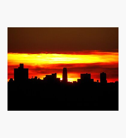 Sundown with a heavy layer of clouds, NYC Photographic Print