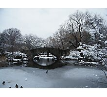 Bridge Over Lake, Snow-Covered Central Park  Photographic Print