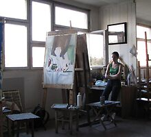 Young Artist in Studio by branko stanic