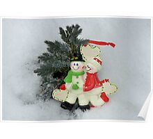 Cute couple with Santa costumes kissing and hugging on Christmas  Poster