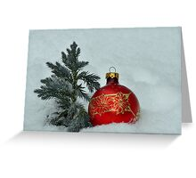 New Year's toy a red ball with mini fur-tree  Greeting Card