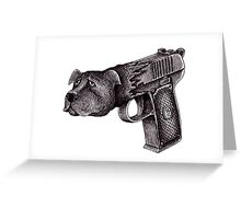 Pit Bull Gun surreal black and white pen ink drawing  Greeting Card