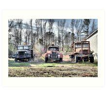 Three Old Trucks (HDR) Art Print