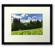 Impressions of Mountains and Meadows and Trees Framed Print