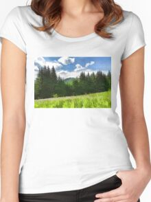 Impressions of Mountains and Meadows and Trees Women's Fitted Scoop T-Shirt