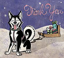Husky Thank You Card by Monica McClain
