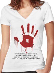 AWESOME Dark Brotherhood Black Sacrament! Women's Fitted V-Neck T-Shirt
