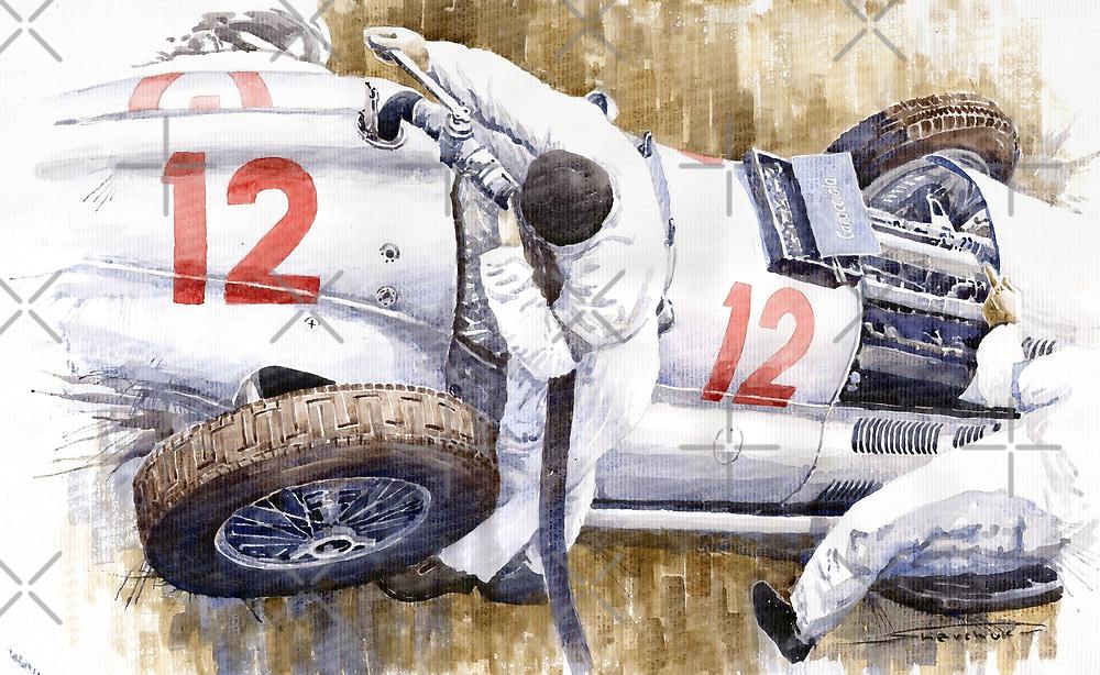 Pit Stop German GP 1939 Mercedes Benz W154 Rudolf Caracciola  by Yuriy Shevchuk