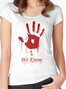 "AWESOME Dark Brotherhood ""We Know"" Women's Fitted Scoop T-Shirt"