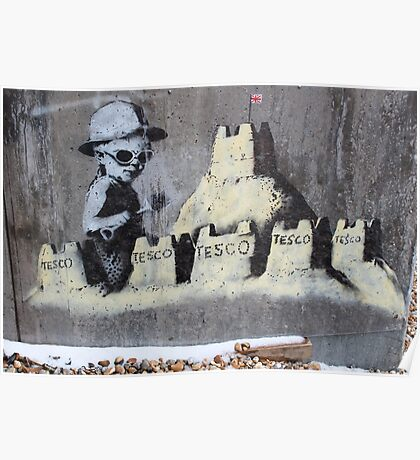 Banksy in the snow. Poster