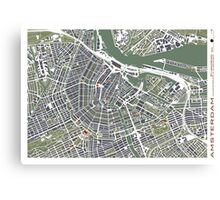 Amsterdam city map engraving Canvas Print