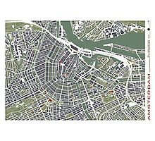 Amsterdam city map engraving Photographic Print