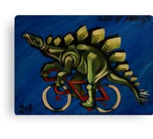 Stegosaurus on a Bicycle Canvas Print