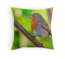 Robin in full song Throw Pillow