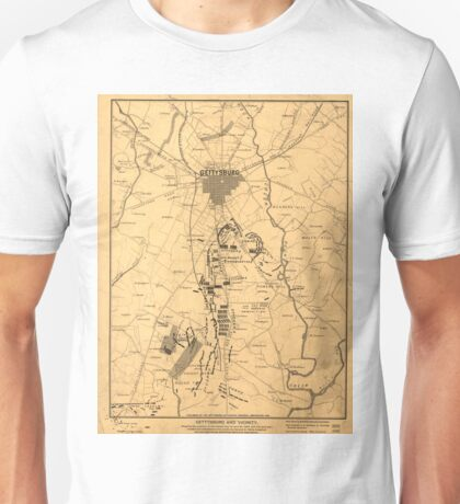 Vintage Map of The Gettysburg Battlefield (1863) 2 Unisex T-Shirt