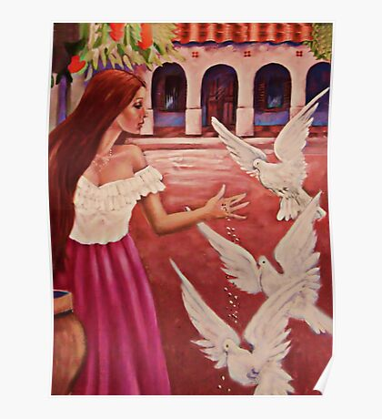 ✿◕‿◕✿  ❀◕‿◕❀ Feeding Doves In Flight ✿◕‿◕✿  ❀◕‿◕❀ Poster