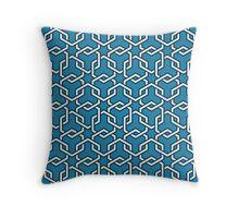 Blue Interlocked Hexagon Chains Throw Pillow