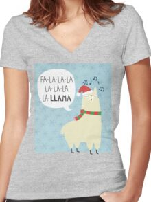 Fa La La La Llama - Christmas  Women's Fitted V-Neck T-Shirt