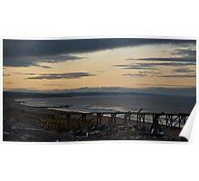 Steetley Pier/Beach at Sunset Poster