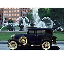1928 Ford Model A Sedan at the J.C. Nichols Fountain Photographic Print