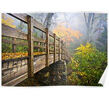 Tanawha Trail Foot Bridge - Rough Ridge Autumn Foliage NC Poster