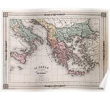 Vintage Map of Greece and Italy (1852) Poster