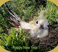 Happy New Year ! Bird in a nest by daffodil