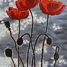 Poppies by the River by Antonio  Luppino
