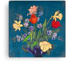 Still Life: Vase with Irises Against a Blue Background Canvas Print