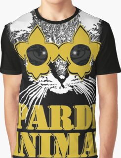 Black and Gold Pardi Animal Graphic T-Shirt