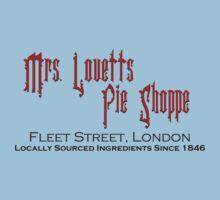 Mrs. Lovett's Pie Shoppe (Red/Black) Kids Tee