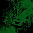 Green/Black Cassette Splatter Case by Jenifer Jenkins