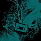 Teal/Black Cassette Splatter Case by Jenifer Jenkins