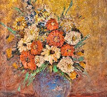 Vintage Painting: Flowers in a Vase by visfineart