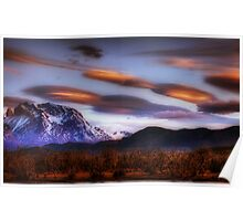 Lenticular Clouds over Torres del Paine Poster